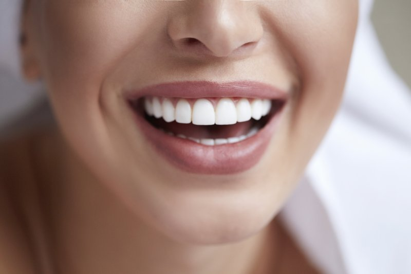 an up-close image of a woman's healthy teeth